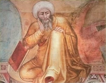 Depiction of Muslim jurist Ibn Rushd, Andrea di Bonaiuto, circa 1300s