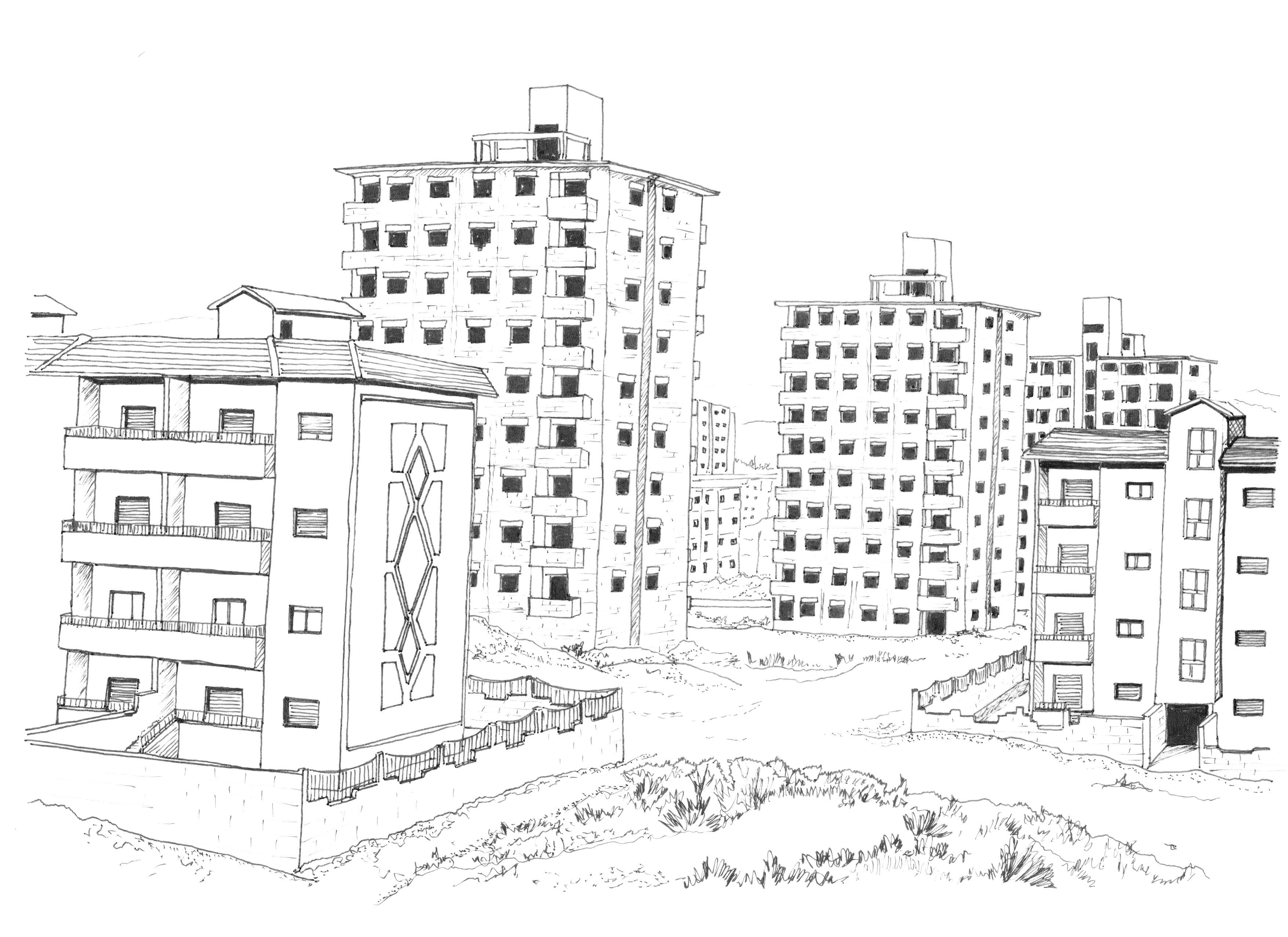 Unfinished and separated modern tower blocks for housing built by the Syrian government; illustration by Marwa al-Sabouni