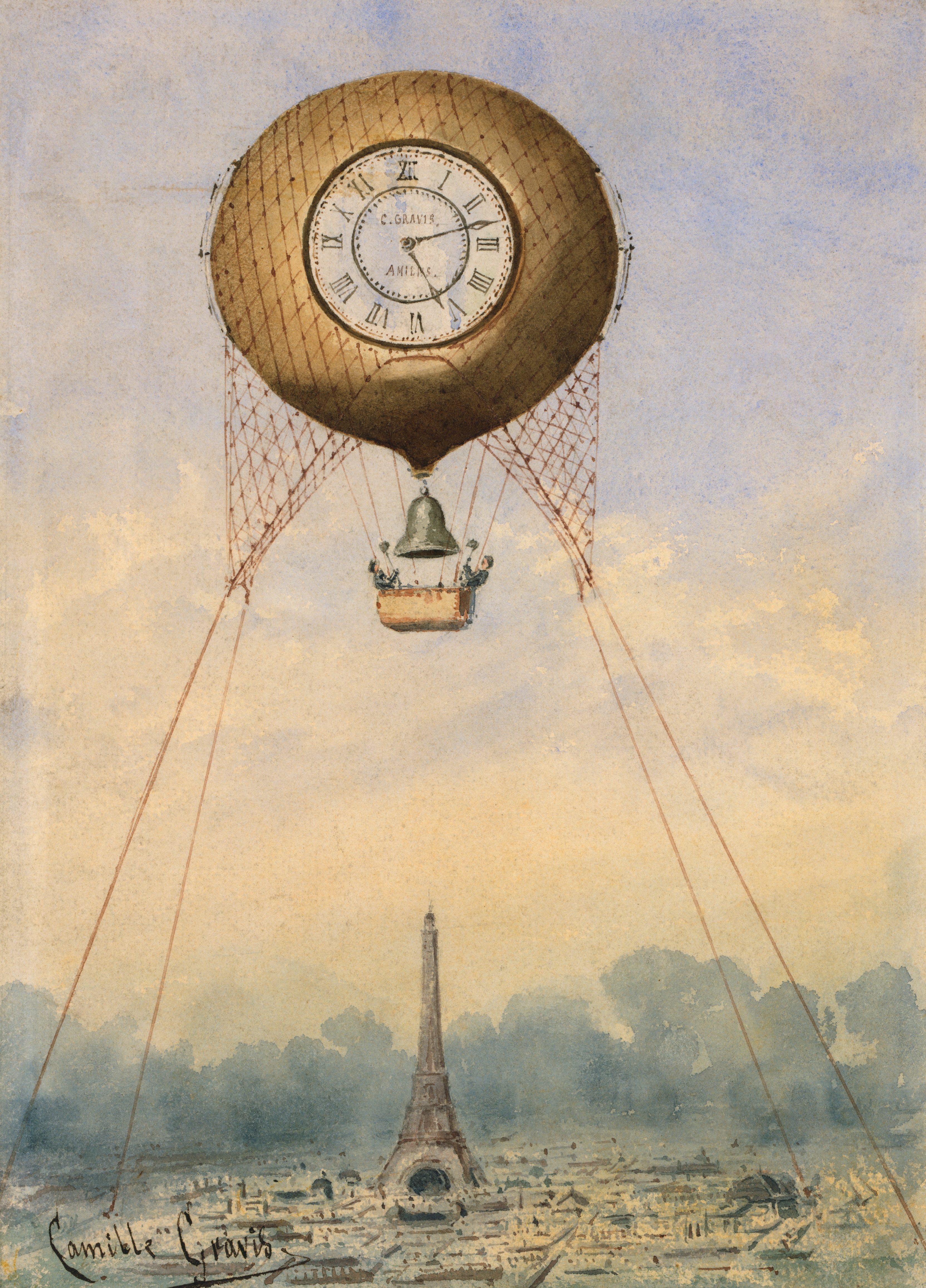 Captive balloon with clock face and bell, Camille Gravis, circa 1889