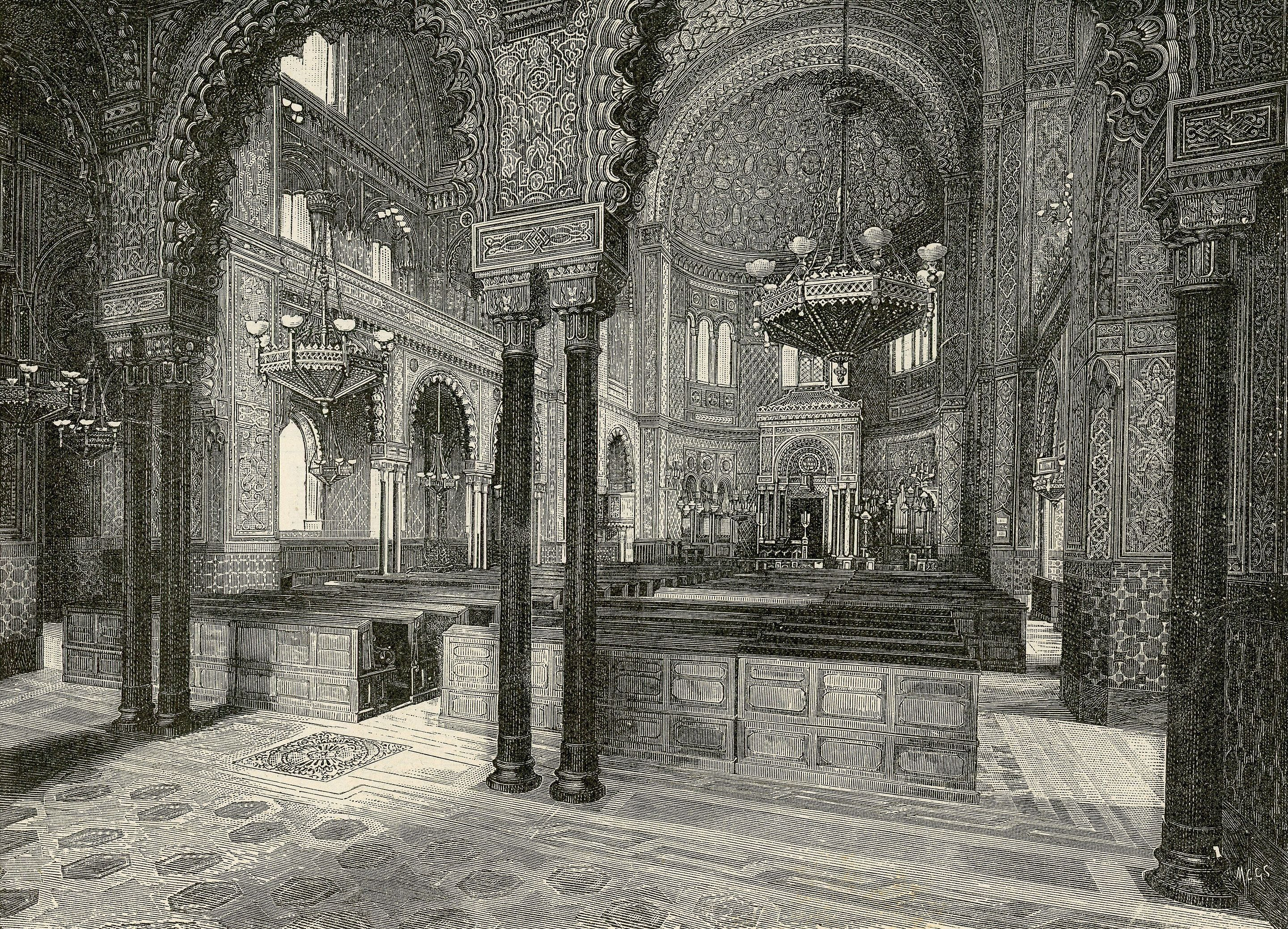 Interior of the Great Synagogue of Florence, Strafforello Gustavo, 1894