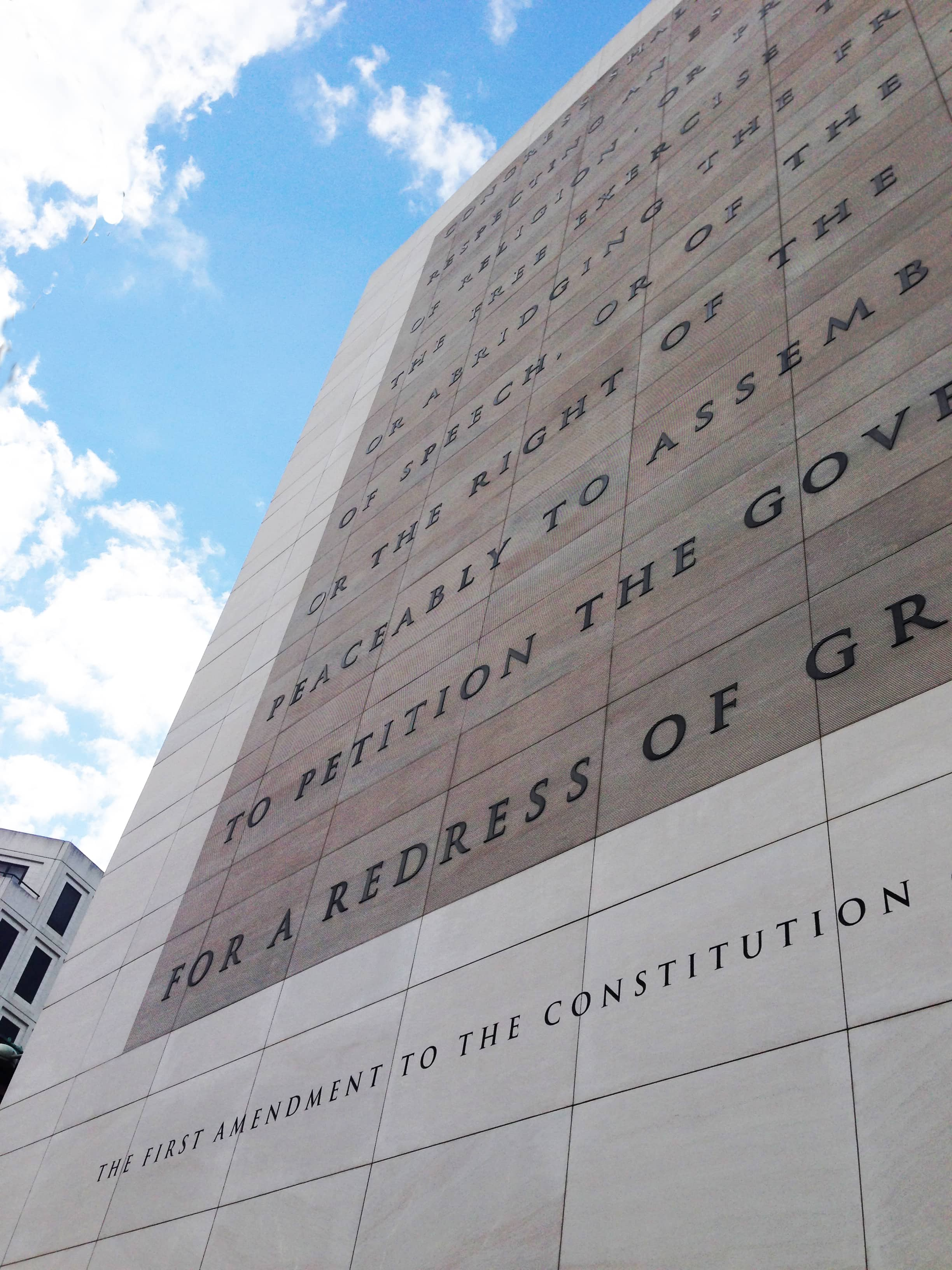 First Amendment Of The United States Constitution On The Facade Of The Newseum Washington Dc Usa  20130922
