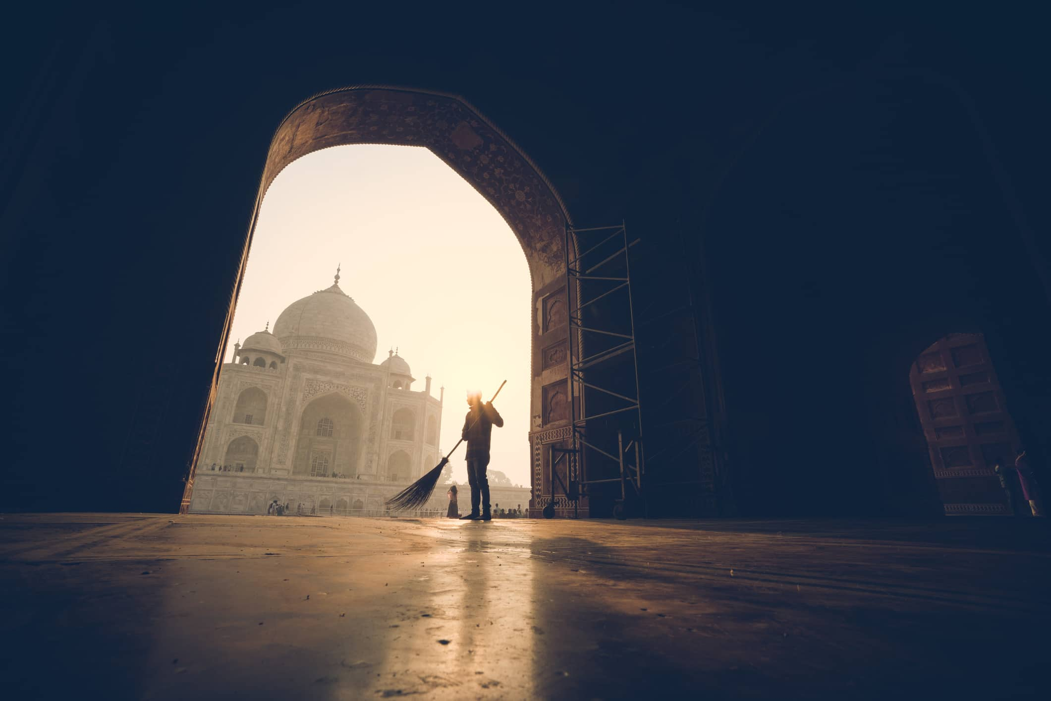 Morning Sweep at the Taj Mahal