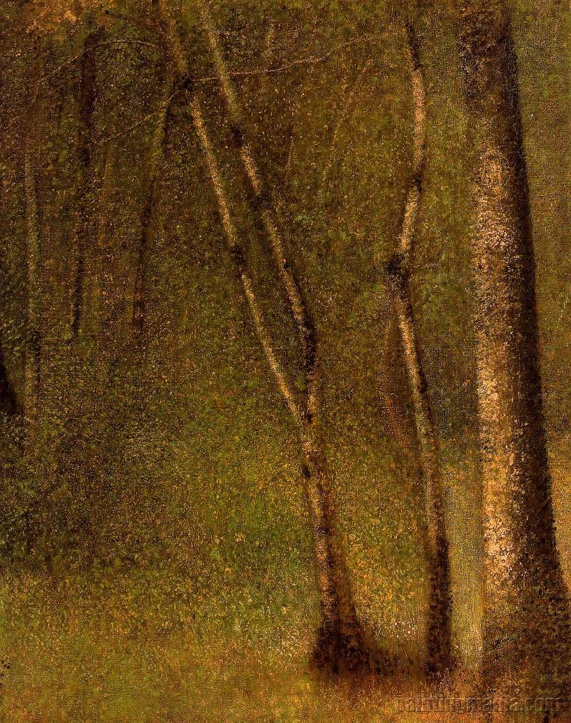 In the Woods at Pontaubert, Georges Seurat